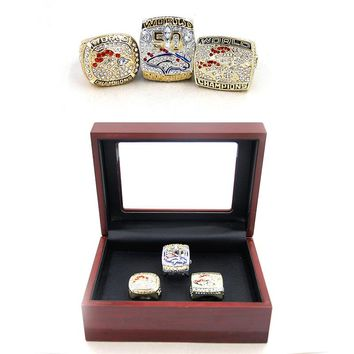 Drop shipping 1997 1998 2015 Denver Broncos championship rings setl with wooden box