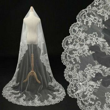 DCCKIX3 Worldwide! In Stock 2015 Luxury Long Sweep Bridal Veils White/ Ivory Lace Beads Pearl Bride Accessories For Wedding Dress