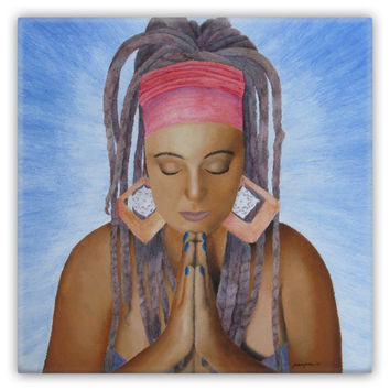 Namaste - Metal Magnet of Acrylic Paint and Watercolor Pencil Fine Art