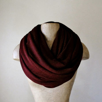 DARK RED Scarf - Chunky Infinity Scarf - Oversized Knit Scarf - Fashion Scarf - Circle Scarf - Winter Scarf - EcoShag