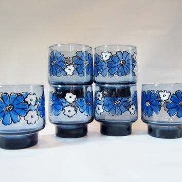 Vintage Drinking Glasses MOD FLOWERS 1970s Set of 6