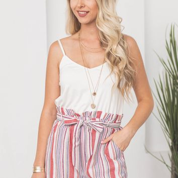 Paperbag Adjustable Straps Pocketed Romper