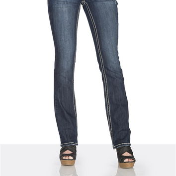 Dark Wash Whip Stitch Stretch Jeans - Dark Sandblast