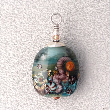LampWork Tidepool Bead Recycled Spectrum Glass Signed by Kate Drew-Wilkinson