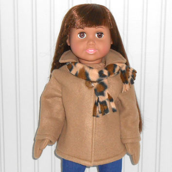 18 inch Doll Clothes Khaki Coat Fleece Jacket with Mittens and Leopard Spot Scarf American Doll Clothes