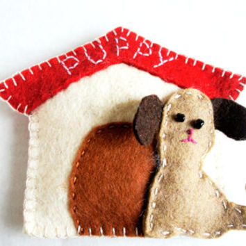 Personalized wool Felt Dog with house Ornament - Doggy Puppy Doggie - gift - Handmade  wool felt Ornament - Housewarming home decoration