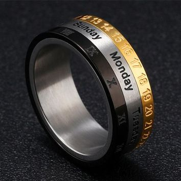 Chinese Zodiac Signs Rotate Men's Stainless Steel Tricolor Ring