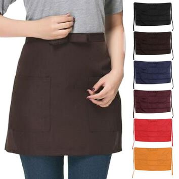 S-home New 6 Colors Bar Pub Kitchen Cotton Bow Short Half Waist Apron Cafe Server Waiter Waitress MAR6