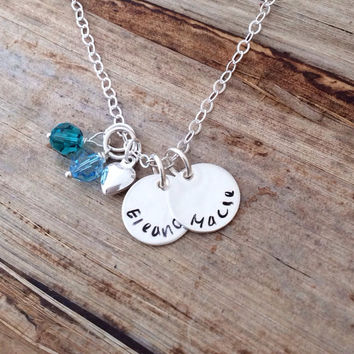 Childrens Names Charm Necklace - Personalized Gift for Mom Mommy Grammy Grandma  Engraved Custom Sterling Silver Grandchildren Kids Pendants