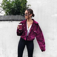 Candy Color Lapel Pockets Buttons Women Cropped Jacket Coat