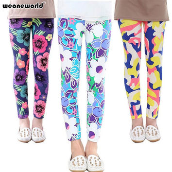 WEONEWORLD Baby Girl Pants New Arrive Printing Flower Girls Leggings Toddler Classic 2-14Y baby Girl Leggings Kids Leggings