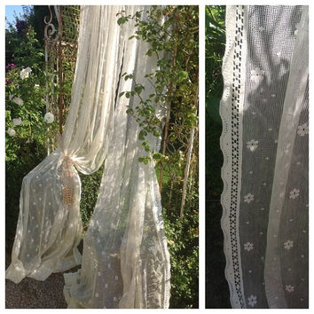 Beautiful pair of vintage french chateau style large floral spot lace curtain panels~ display beautifully.