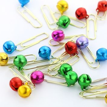 TUTU 25pcs Metal Material Bell Shape Paper Clips Gold Color Funny Kawaii Bookmark Office Shool Stationery Marking Clips H0109