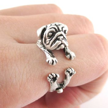 Adorable Pug Puppy Dog Shaped Animal Wrap Around Ring in Silver | Sizes 6 to 9