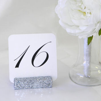 Silver glitter table card holder (Set of 10)