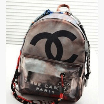 CHANEL Black Graffiti Backpack #3