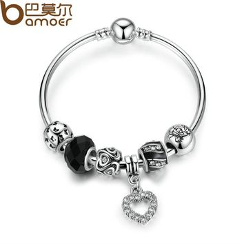 Silver Color Strand Bracelet for Women with Black Glass Bead & Heart Charms Fashion Bangles Bracelet Jewelry PA3081