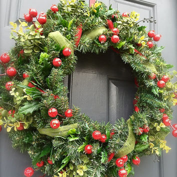 Winter Berry Wreath Christmas Wreath with Berries Evergreen Wreath Winter Season Wreath