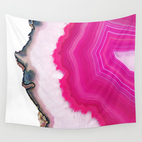 Pink Agatha Slice Wall Tapestry by Cafelab