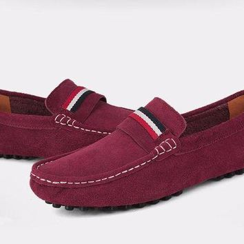 DCK7YE Brand Fashion Suede Leather Men Loafers, High Quality Men Driving Shoes, Slip On Men M