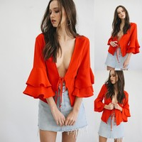 Women Simple Fashion Solid Color Frills Middle Sleeve Deep V Cardigan Small Coat Tops