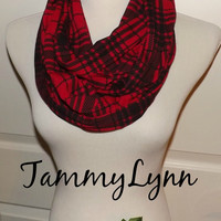 RED and Black Plaid Check Jersey Knit Infinity Scarf Fall Winter Christmas Women's Accessories