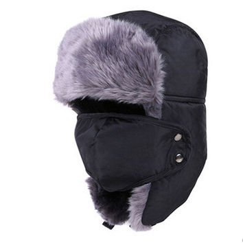 Warm Winter Hat with Fur and Face Mask