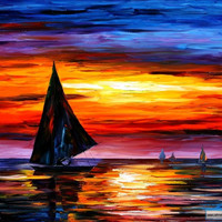 AWAY FROM THE SUNSET — PALETTE KNIFE Oil Painting On Canvas By Leonid Afremov / Afremov Art auction Paintings By Leonid Afremov.