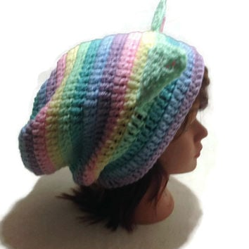 Pastel Ombre Cat Hat Pastel Rainbow Kitty Ears Beanie