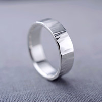 Men's Textured Sterling Silver Ring | 6mm