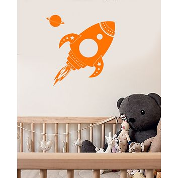 Vinyl Wall Decal Cartoon Space Rocket Planet Astronaut For Kids Room Stickers (3753ig)