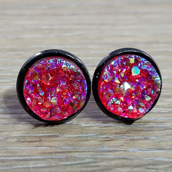 Druzy earrings- Red drusy Black stud druzy earrings