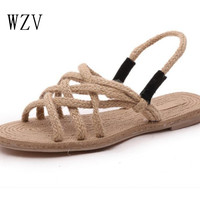 WZV 2017 summer style cross strap flat shoes solid-colored seaside holiday wind rope sandal Roman sandals fashion women shoes
