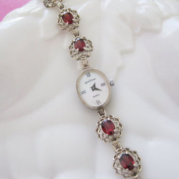 Sterling and Garnet Gem Time Watch Womens Bracelet
