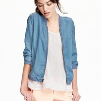 Old Navy Womens Chambray Bomber Jackets