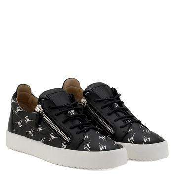 Giuseppe Zanotti Gz The Signature Black Fabric Low-top Sneaker With White Logo Motif - Best Deal Online