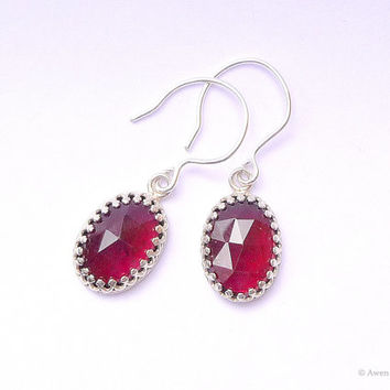 Sterling Silver Garnet Earrings Gallery Wire Filigree Bezel Set Gemstone Jewelry Fall Fashion