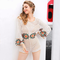 White Lace Floral Embroidery Bell Sleeve Back Hole Jumpsuit