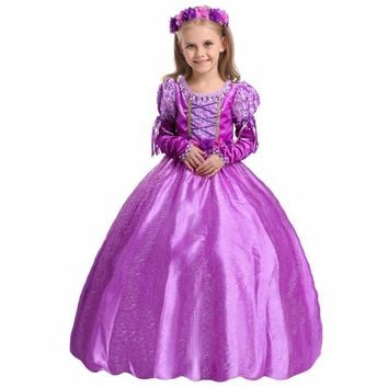 2/3/4/5PCS New Fashion Lovely Cosplay Clothes Princess Tangled Rapunzel Dress Cape Outfits Kids Halloween Costumes for Girls
