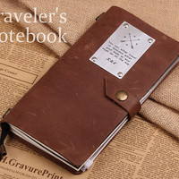 Personalized Midori Travellers Notebook - Simple Leather Journal Notebook - Compass Leather Note Cover