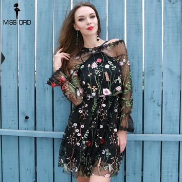Sexy Hanging Neck Leaf Lotus Embroidery Flowers High Waist Lace Sexy Female Dress