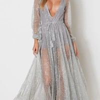 Get Up And Glimmer Sheer Mesh Silver Glitter Long Sleeve Plunge V Neck Maxi Dress