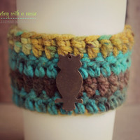 Crocheted Coffee Sleeve - Blue, Green, & Brown - With Copper Owl