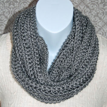Crochet infinty scarf, grey, gray, circle scarf, loop scarf, women's, crochet scarf, chunky scarf, cowl scarf, chunky cowl, ribbed