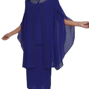 Hosanna 5024 Plus Size Royal Blue 3 Piece Set Tea Length Dress