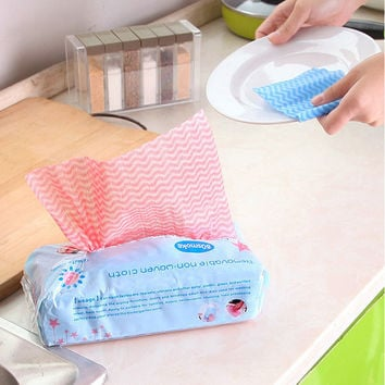 KCASA KC-CS06 80pcs Disposable Non-woven Fabric Non-stick DishCloth Wiping Rags Cleaning Cloth