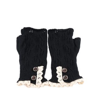 1Pair Women's Fashion Warm Lace Fingerless Gloves Knitted Winter Knit Gloves Button Mittens