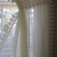 White Semi Sheer Voile Curtain Panel with Macrame Lace Border and Tieback 63 long...a total of 2 are available