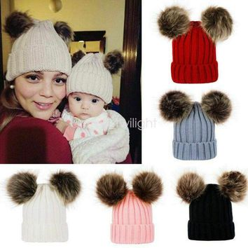 Mom& Kids Baby Girl Winter Beanie Cap with Knitted Double Fur Bobble Pom Hat Cap