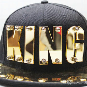 Gold Plate KING Snap Back Acrylic Letter Baseball Hat Snapback Cap Men Adjustable Caps Punk Style Unisex Hip-hop Hats Fashion Ball cap